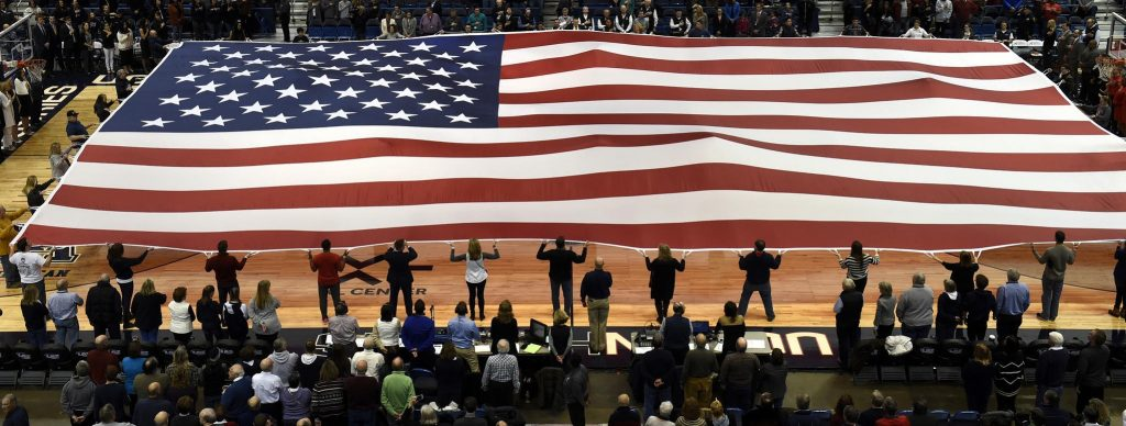 Colossal Colors (giant flag) at UConn Women's Basketball Game on December 19, 2016