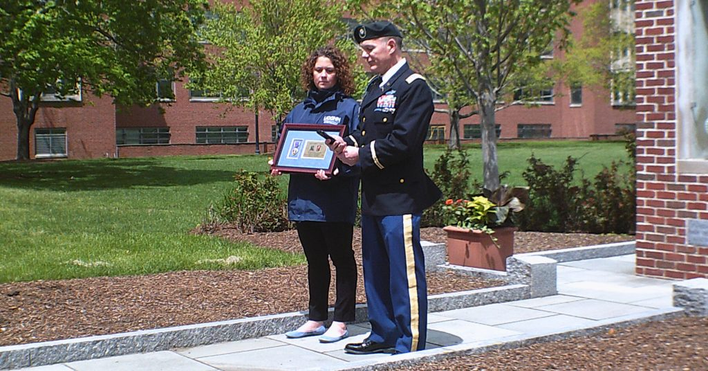 May 8, 2017 - Purple Heart belonging to WWII hero, 1LT Alonzo S. Marcil (UConn Alum), presented to UConn by Purple Hearts Reunited's Valor Guard member, LTC Robert C. Monette.
