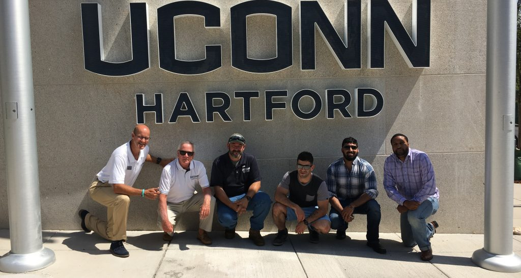 UConn student Veterans participating in the flag-raising ceremony at UConn Hartford Campus August 2017
