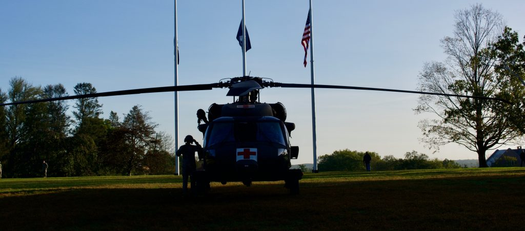 Blackhawk helicopter on-campus (Founder's Green) for the Military Career Day on October 4, 2017