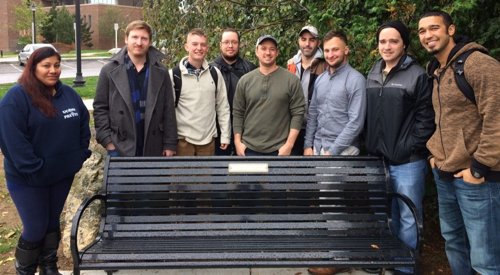 Nov. 1st - Bench dedicated to UConn faculty, staff, and students (located by Hawley Armory at Storrs)