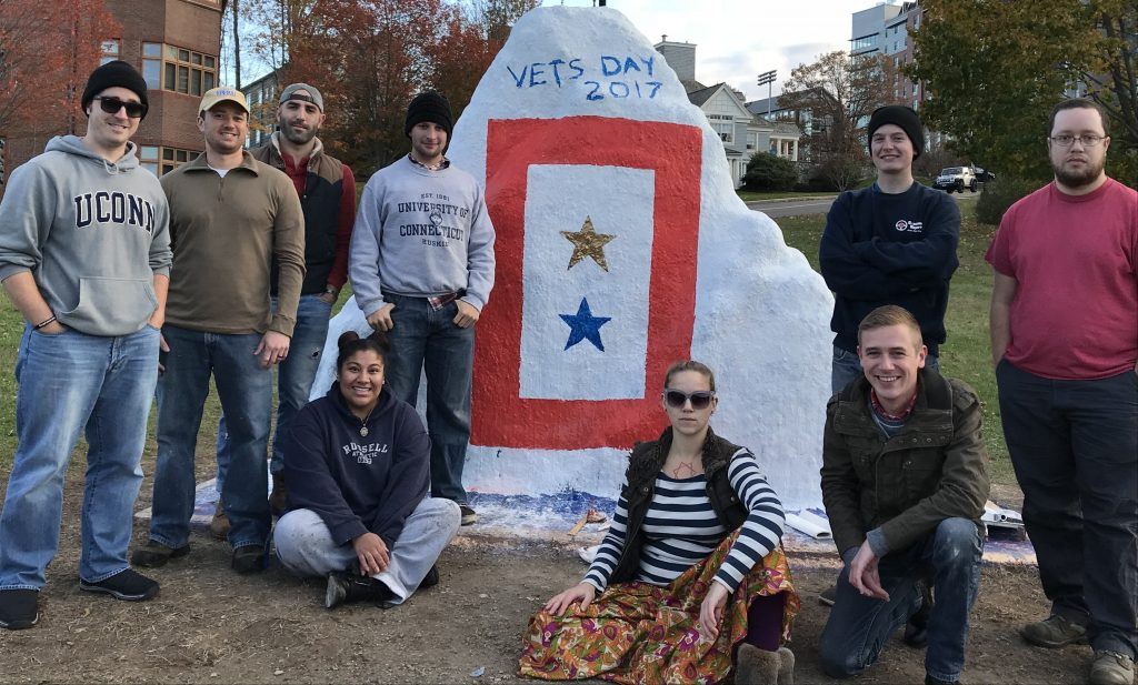 Rock painted at Storrs for Veterans Day 2017