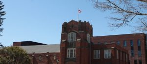 U.S. Flag raised on top of Hawley Armory, April 2018.