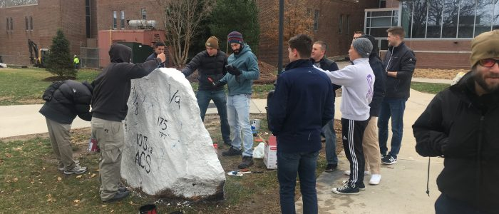 Veterans FYE (First Year Experience) Class paints the rock after last class - November 2018