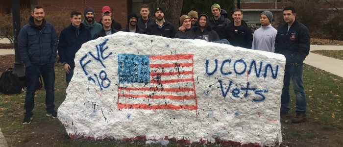 Veterans FYE (First Year Experience) Class after painting the rock to commemorate their last class - November 2018