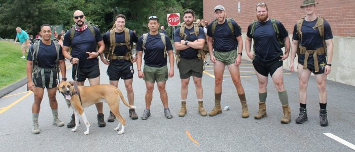 Members of UConn's Veteran Students Organization (VSO) rucking the Kyle Milliken Memorial Run on Sept. 14, 2019.