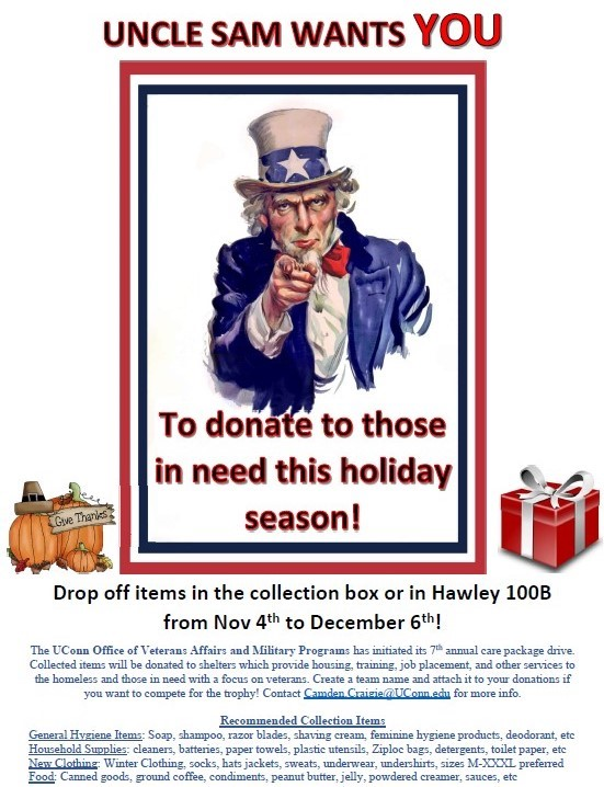 Flyer for Veterans Care Package Drive November and December 2019
