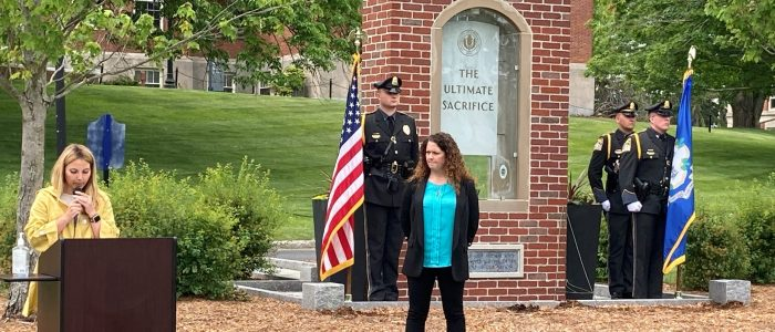 UConn Student, April Weaver, reading the UConn Roll of Honor at the 1st Annual Memorial Day Ceremony, June 1, 2021