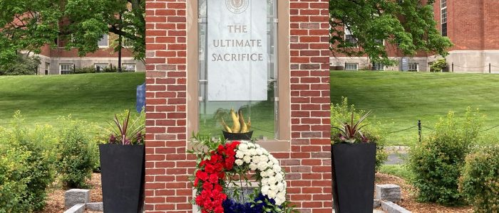 Wreath placed on the Ultimate Sacrifice Memorial at UConn (Storrs) for Memorial Day 2021